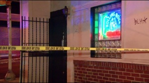Shooting at 55 North Bar leaves crime tape and shooting victims. Photo courtesy of Fox 29.