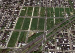 The sky view of the Empty Logan Triangle in 2011 from OCFrealty