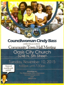 The flyer from the Councilwoman Cindy Bass's office inviting residents to come out on Nov. 10, 2015 at 6 p.m.