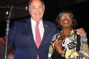 Councilwoman Marian Tasco (right) poses with former mayor and governor Ed Rendell at her retirement celebration.