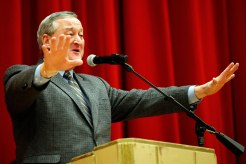 Jim Kenney was all ears at Central High School Monday Night.